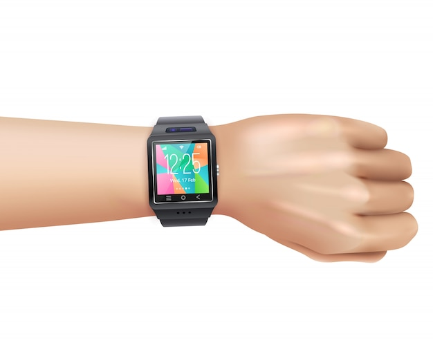 Smart watch realistic on hand Free Vector