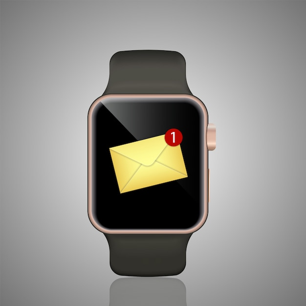 Smart watch realistic  illustration. smartwatch ringing and displaying new message notification. Premium Vector