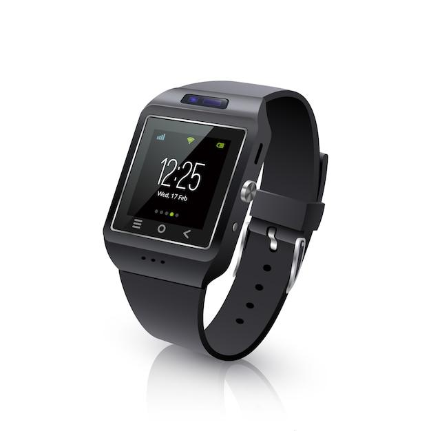 Smart watch realistic image черный Бесплатные векторы