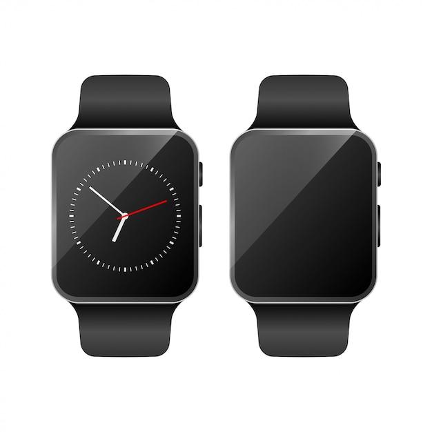 Smart watch set mockup vector Premium Vector