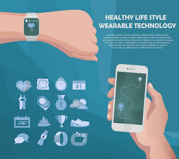 Smart watch and smartphone fitness Premium Vector