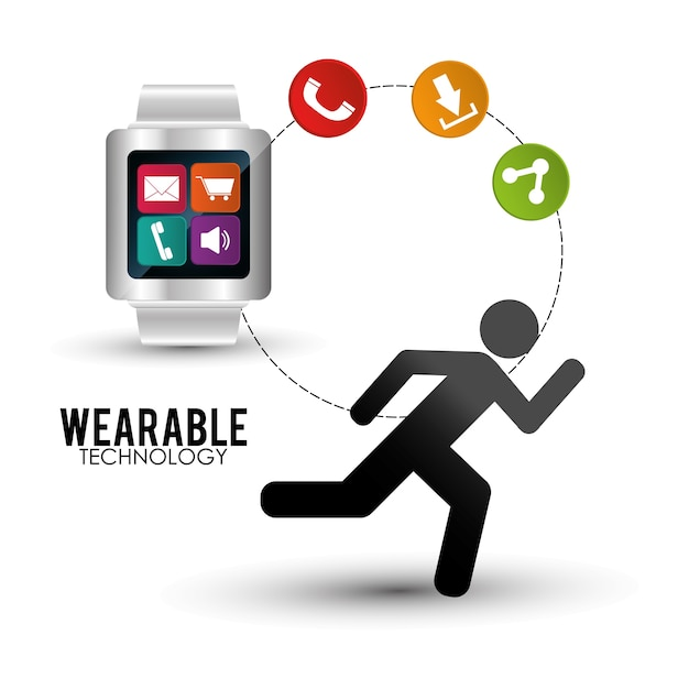 Smart watch wearable technology portable accessory Premium Vector