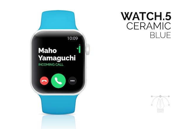 Smart watch with blue bracelet realistic  illustration. Premium Vector