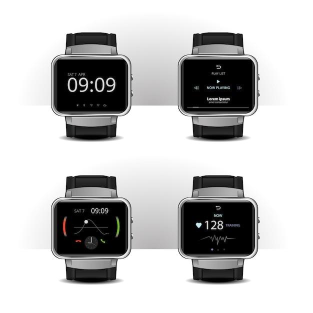 Smart watch with digital display set illustration Premium Vector