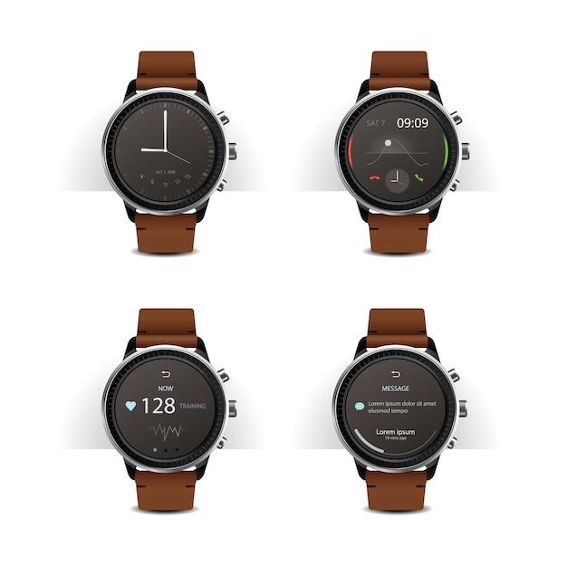 Smart watch with digital display set vector illustration Premium Vector