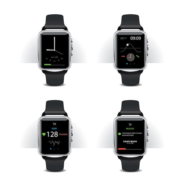 Smart watch with digital display set Premium Vector