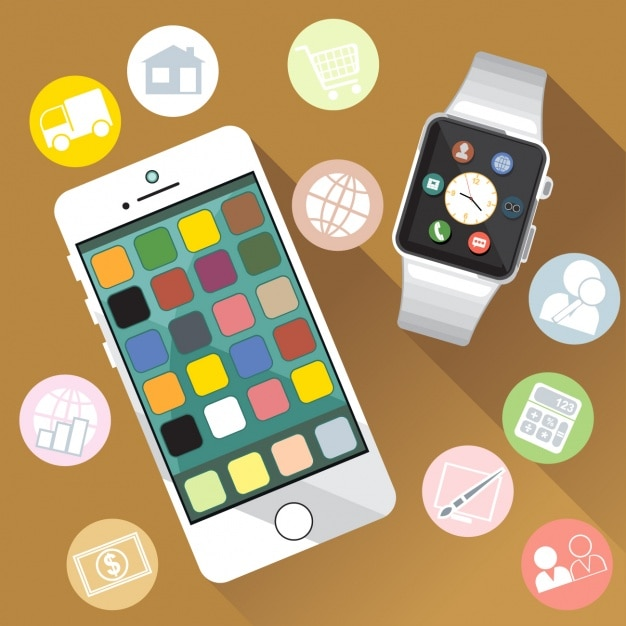 Smart watch with icons Free Vector