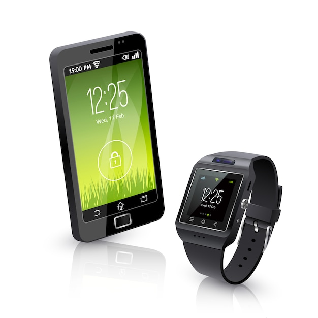 Smart watch with phone realistic composition Free Vector