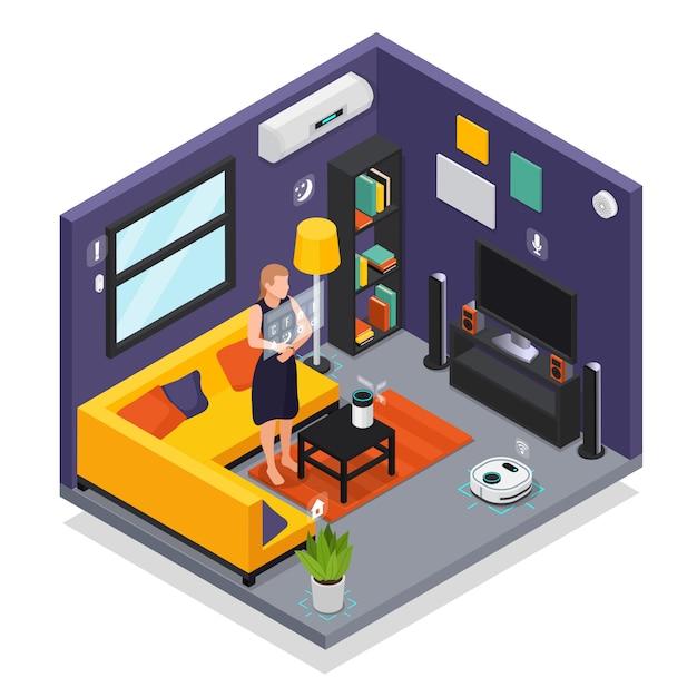 Smarthome гостиная комната с носимых гаджетов smartwatch управления роботизированный пылесос изометрическая композиция иллюстрация Бесплатные векторы