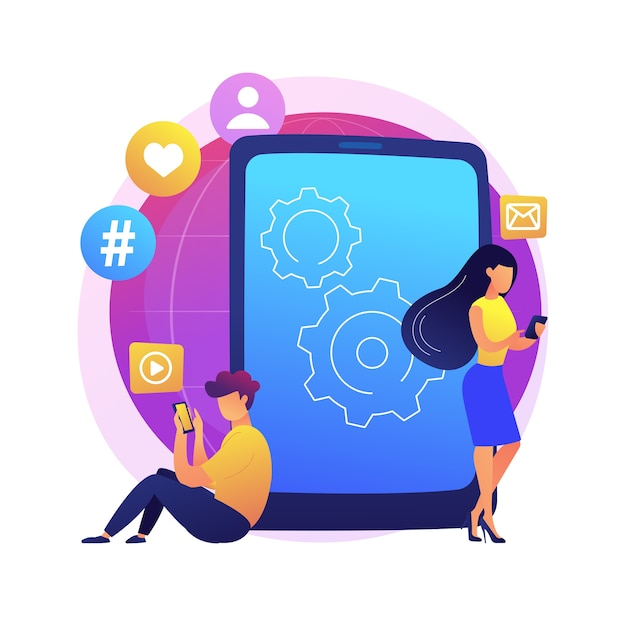 Smartphone addiction abstract concept  illustration. digital disorder, mobile device addiction, constant phone checking, sleep disorder, mental health, low self-esteem . Free Vector