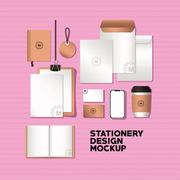 コーポレートアイデンティティと文房具のデザインテーマのスマートフォンとブランドのモックアップセット Premiumベクター