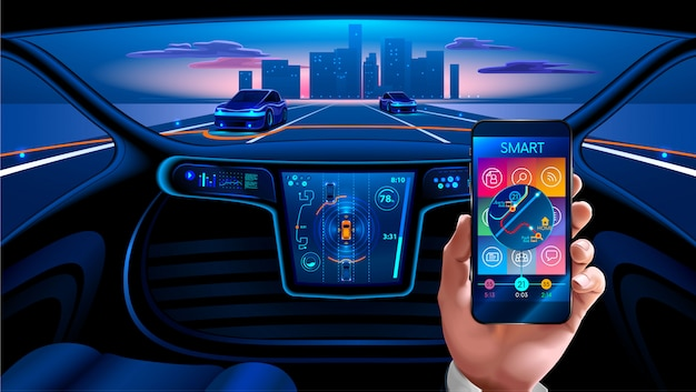 Smartphone application to control the smart car by internet. security system smart car Premium Vector