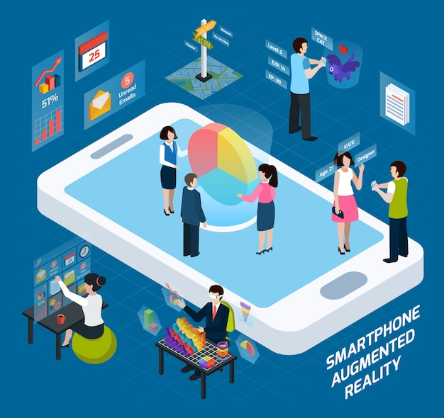 Smartphone augmented reality isometric composition Free Vector