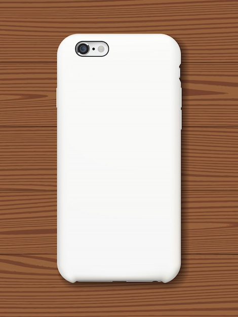 Smartphone back cover mock up on wooden background. Premium Vector