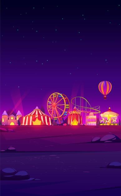 Смартфон фон с ночным карнавальным аттракционом Бесплатные векторы