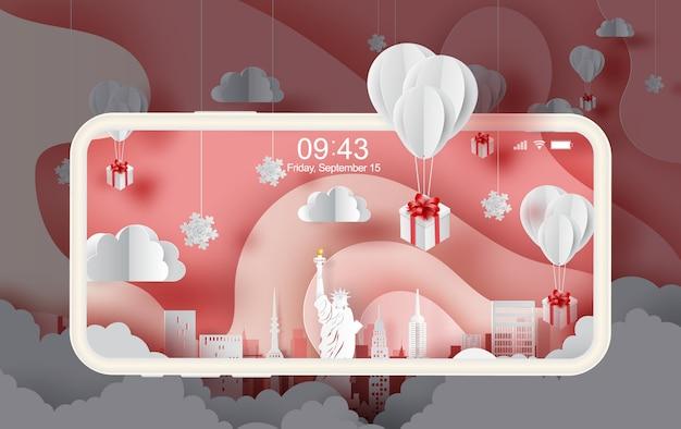Smartphone of balloons gift floating in new york city. Premium Vector