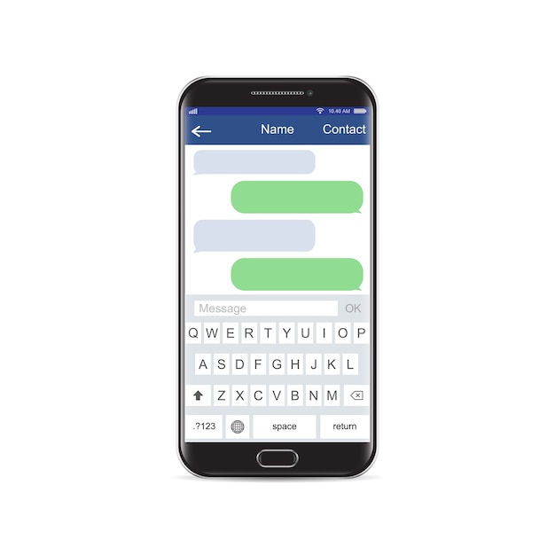 smartphone black chatting sms app template bubbles black and white