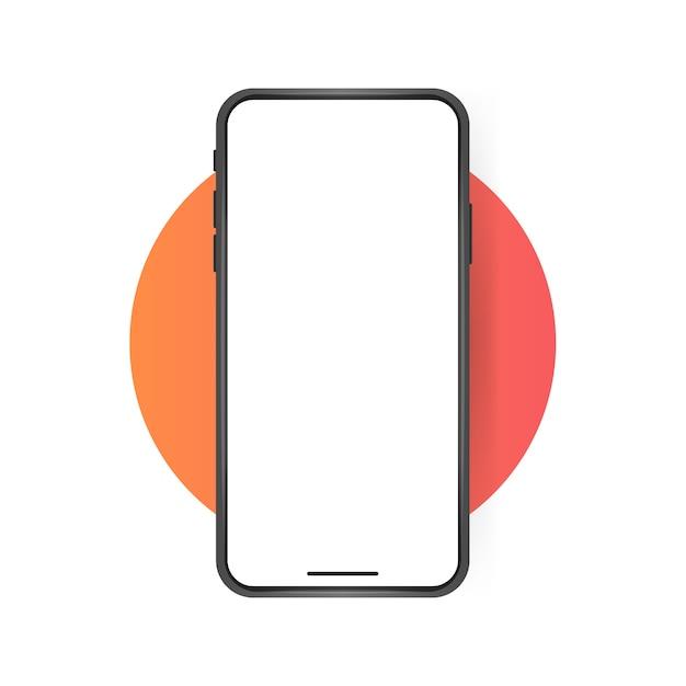 스마트 폰 빈 화면, 전화 모형. 프리미엄 벡터
