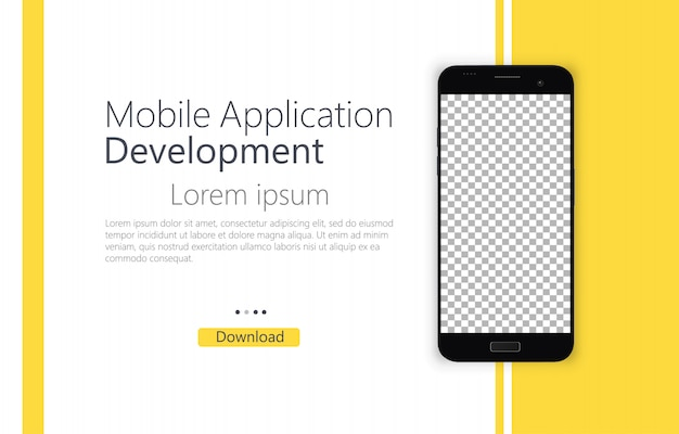 Smartphone Blank Screen Phone Template For User Interface Design Mobile App Development Premium Vector