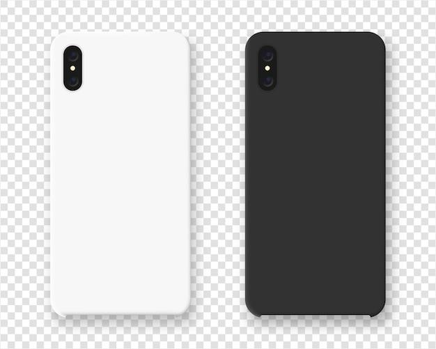 スマートフォンケース。透明な背景にスマートフォンの現実的なケース。図。 Premiumベクター