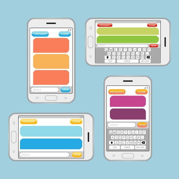 Смартфон в чате sms-сообщения речевые пузыри вектор шаблон. обмен сообщениями в интернете, общение в чате. Бесплатные векторы