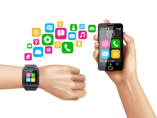 Smartphone compatible smartwatch data transfer symbols Free Vector