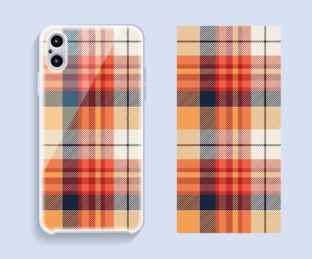 スマートフォンカバーデザインのモックアップ。携帯電話後部のテンプレートの幾何学模様。 Premiumベクター