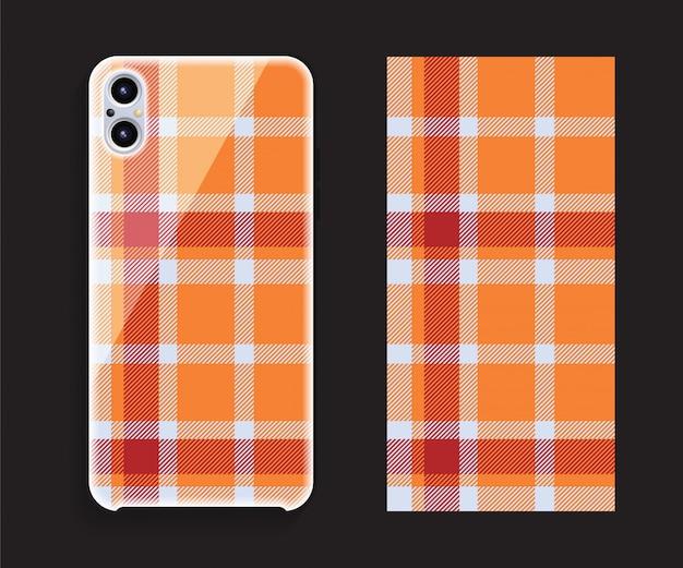 スマートフォンカバーモックアップ。携帯電話後部のテンプレートの幾何学模様。平らな 。 Premiumベクター