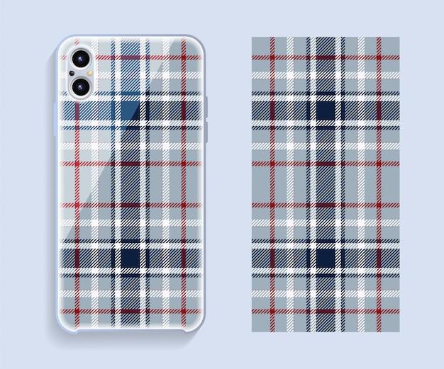 スマートフォンカバー。携帯電話後部のテンプレートの幾何学模様。 。 Premiumベクター