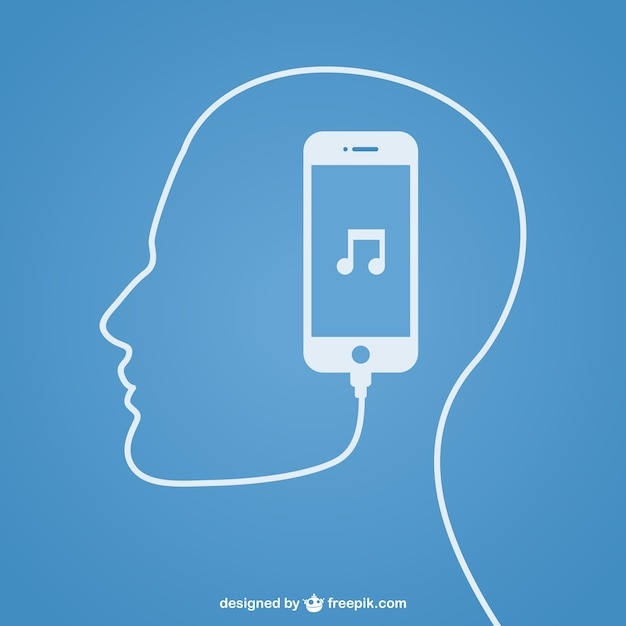 Smartphone creating a human silhouette with its earphones Free Vector