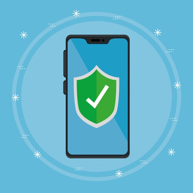 Smartphone device with shield secure illustration designs Free Vector
