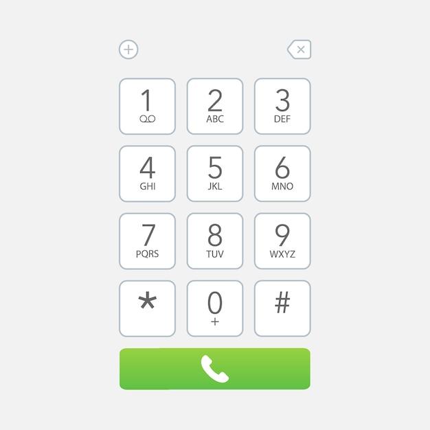 Smartphone dial keypad screen Premium Vector