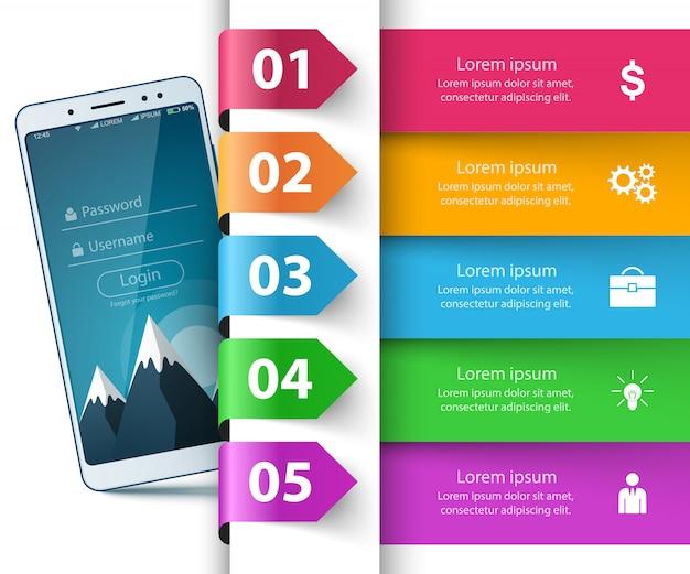 Smartphone, digital gadget - business infographic Premium Vector