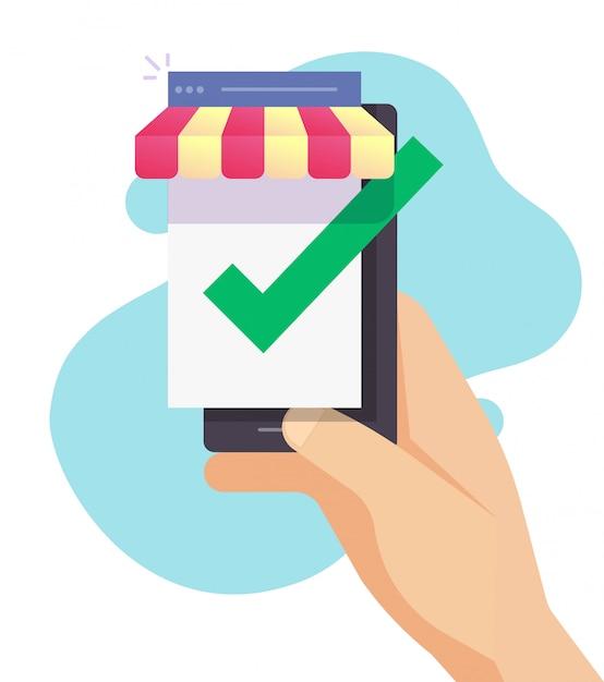 검증 된 상점 및 승인 상점으로서의 스마트 폰 디지털 인터넷 전자 상거래 상점 프리미엄 벡터