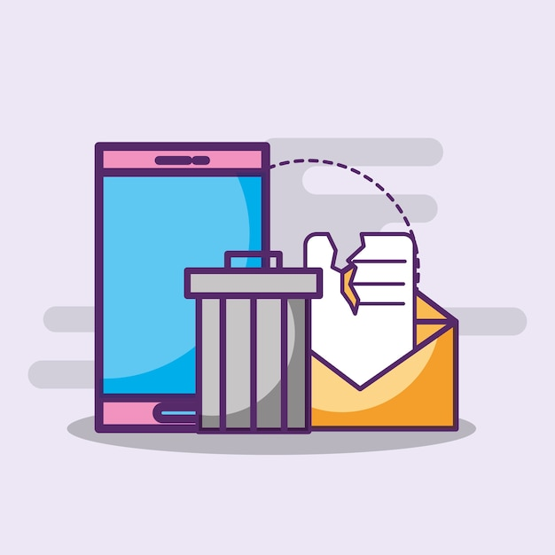Smartphone email spam trash can Premium Vector