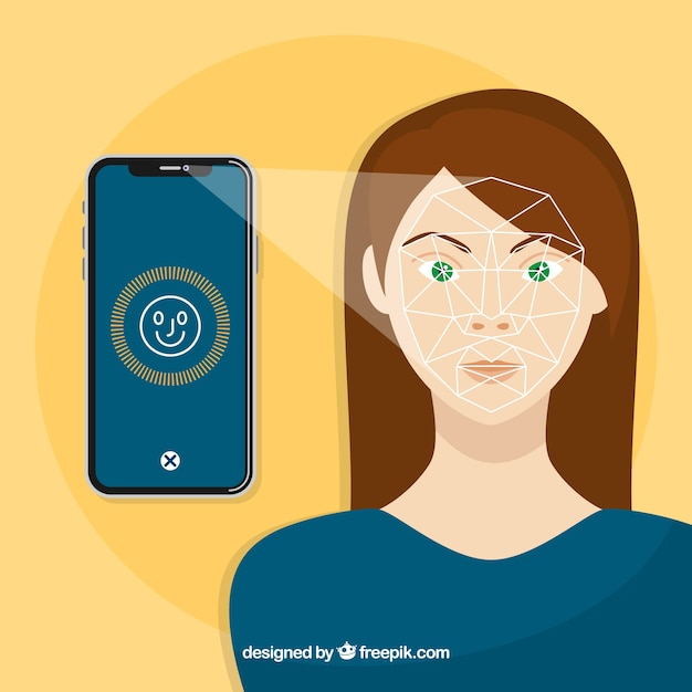 Smartphone face id concept with angry\ woman