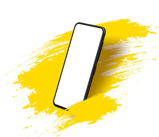 Smartphone frameless blank screen, rotated position. 3d isometric illustration cell phone. smartphone perspective view. Premium Vector