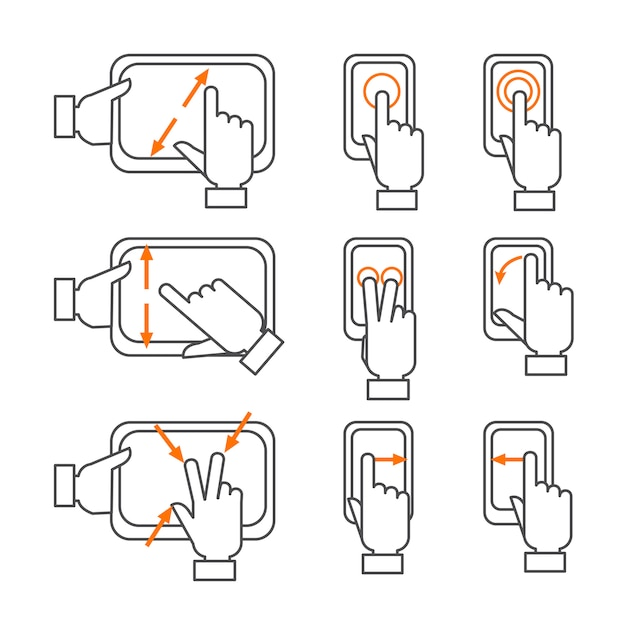 Smartphone gestures outline icons set Free Vector