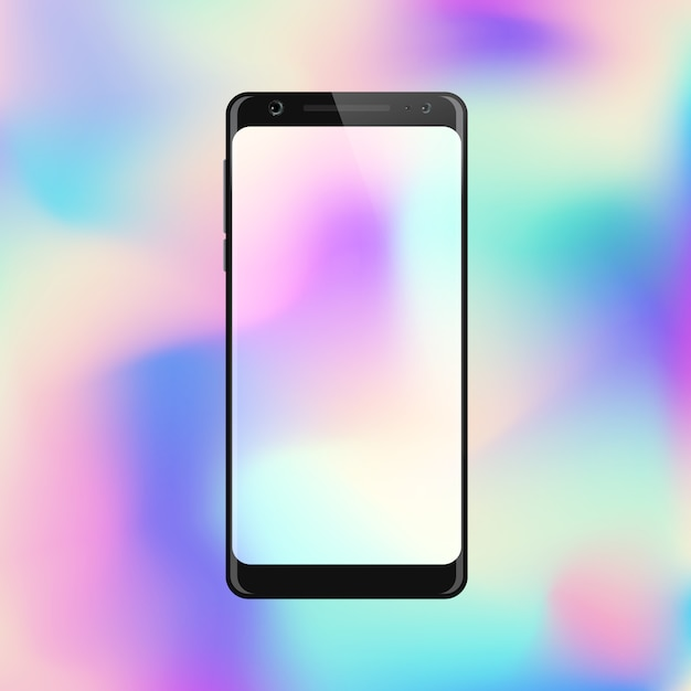 Smartphone on gradient background. mobile phone with abstract colorful screen Premium Vector