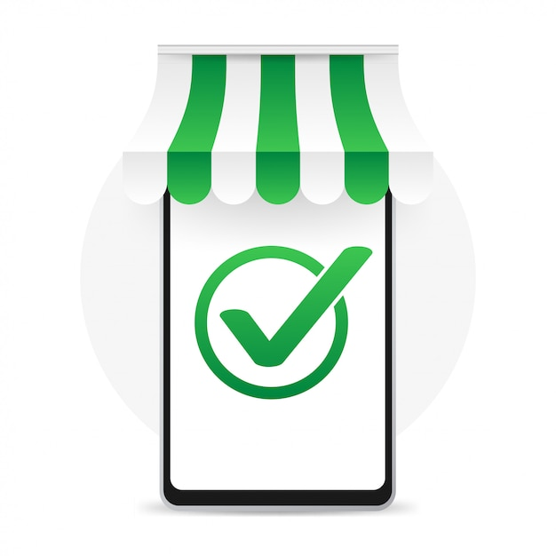 Smartphone having approved tick notification  successful operation check mark  phone with checkmark notification Premium Vector