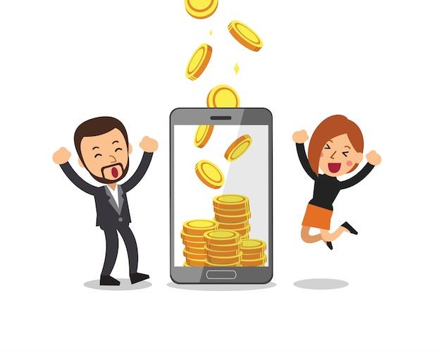 Smartphone help business people to earn money Premium Vector