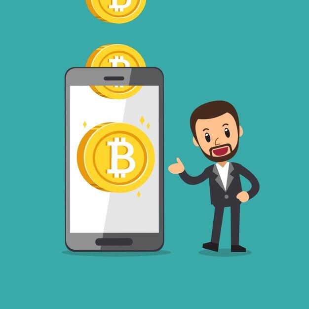 Premium Vector | Smartphone help businessman to earn money