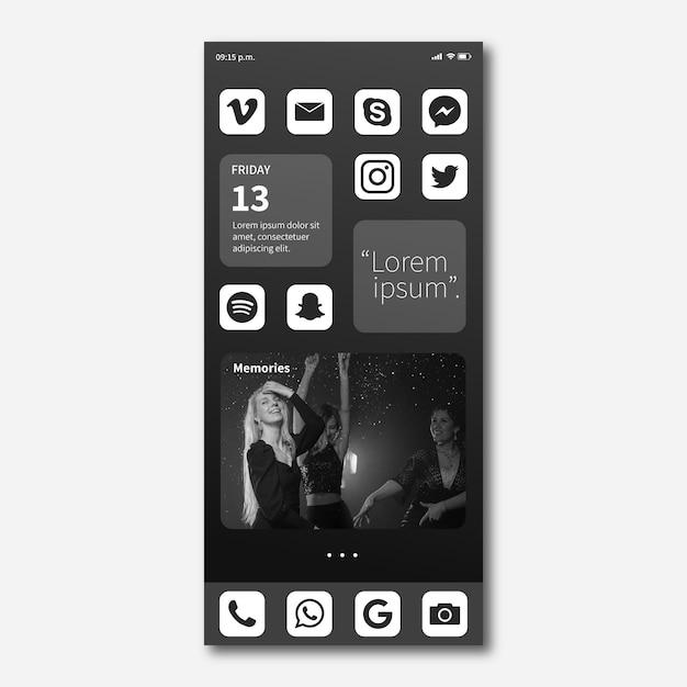 Schermata iniziale dello smartphone Vettore gratuito