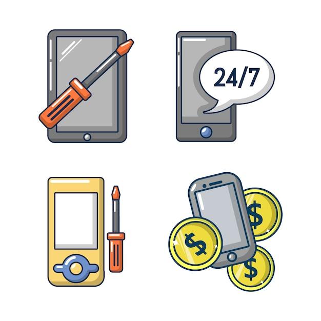 Smartphone icon set. cartoon set of smartphone vector ...