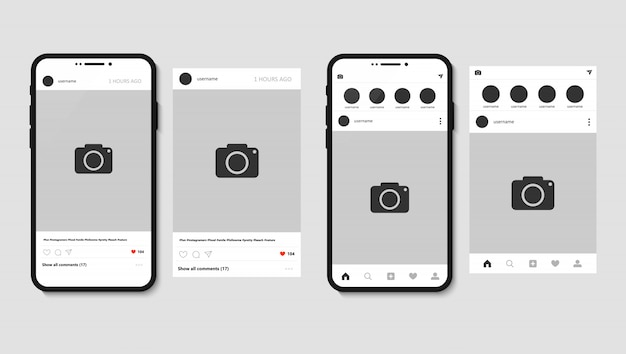 Smartphone and instagram app with post for photo Premium Vector