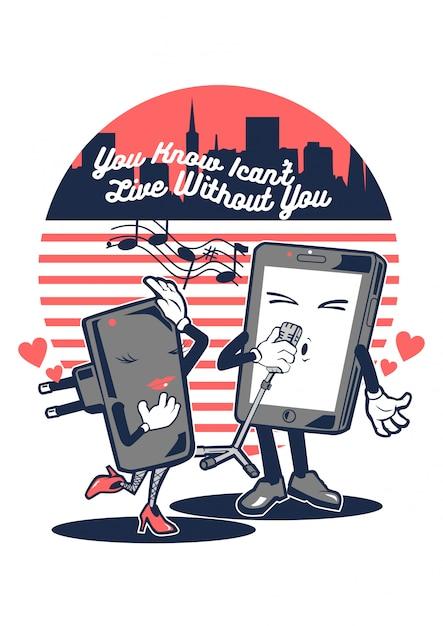 Smartphone in love Premium Vector
