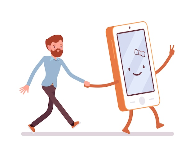 Smartphone and man are walking holding a hand Premium Vector