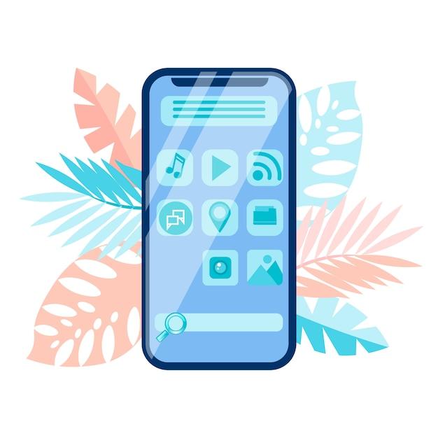 Smartphone menu interface Premium Vector