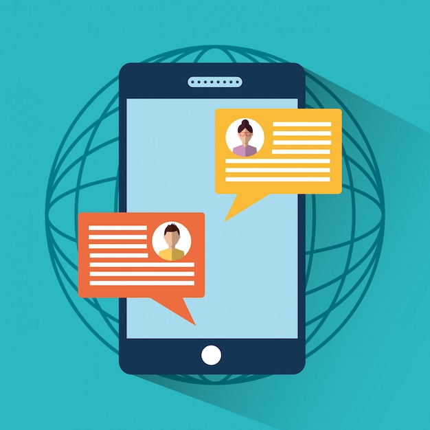 Smartphone message sms chat internet digital Free Vector