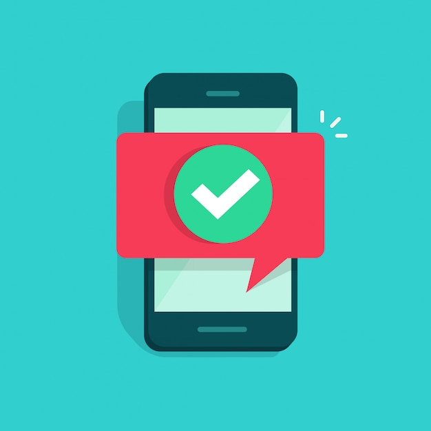 Smartphone or mobile phone and checkmark Premium Vector